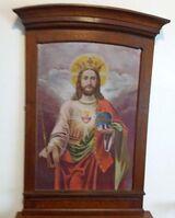 Antik Altar Ölgemälde Kirche Kapelle Jesus Christus flammendes Herz Hauskapelle
