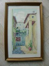 Original Aquarell signiert Holz-Rahmen gold 28,5 x 43 cm Deko Vintage Retro 12,-