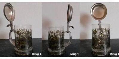 Bierkrug Krug Glaskrug mit Zinndeckel - Regenstauf