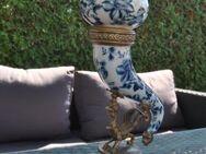 Trinkhorn Keramik Messing Horn Gefäß Prunk verziert Vase Ornamente Deko - Zeuthen