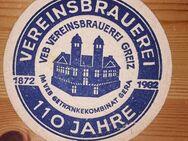 DDR VEB Vereinsbrauerei Greiz - Getränkekombinat Gera 110 Jahre Bierdeckel BD - Nürnberg