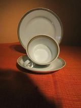 KAHLA 3tlg. Porzellan Kaffeegedeck, Tasse Untertasse Kuchenteller, DDR / Kult