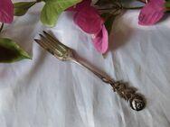 Antiko Kuchengabel / kleine Gabel Hildesheimer Rose / 100 M Silberauflage / NEU - Zeuthen