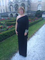Gr. 14: One-Shoulder-Abendkleid, schwarz, lang, NP 479,-