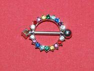 "Piercing - Brust / Nippel ""Chirurgenstahl"" Shield m. Color Kristalle - Andernach"