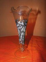 Schöne Glas Vase, gefärbte Glastropfen / Dekoration, Blumenvase neuwertig