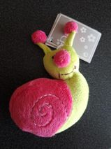 Schnecke aus Stoff neu / unbespielt pink-gelb