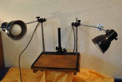 Pentacon Fototisch mit zwei Lampen aus den 50er Jahren - Sammlerobjekt - Zeuthen