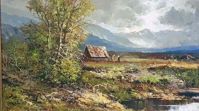 Ölgemälde Otto Schuster Voralpen-Landschaft Alpen Bayern Wildbach Bauern Tracht - Nürnberg