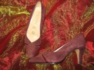 "NEUw * Edel * Original VINTAGE * Echt * Nubuck * Velours Leder * High Heels * Pumps * Schuhe ""Elisabeth"" Gr. 37½ * 37,5 * 4,5 * bordaux- dunkel- wein-rot * - Riedlingen"