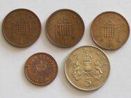5 Münzen Großbritannien: ½, 1 New Penny, 5 New Pence (1971-81)