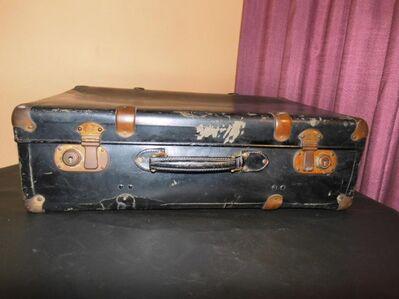 Antiker Reisekoffer 1940 / Koffer aus Hartplatte / Koffer mit Metallbeschlägen - Zeuthen