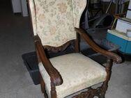Ohrensessel mit Armlehnen im antiken Stil / Sessel aus Echtholz / Polstersessel - Zeuthen