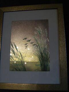 """Kunstbild """"Schilf mit Vögeln"""" mit Rahmen, 27x33 (Foto 15x21)wie Abb. - Olching"""
