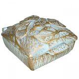 Weihwasserbecken Gold Creme, Weihwasserkessel mit Deckel, Grabdeko