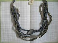 REPLAY, Halskette, Jeans Blau kleine silberne Metall Quadrate, 96cm, UVP: 69€ - Düsseldorf