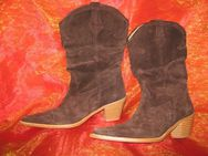 NEU* Stylische * Velours- Leder * Cowboy * Stiefel * Made in Spain * Gr. 37/ 4, braun* - Riedlingen Zentrum