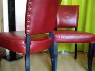 4 echte rote Leder Stühle massiv Holz gepolstert - Berlin