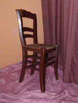 Wunderschöner Spätbiedermeier Stuhl / Holzstuhl mit Korbgeflecht