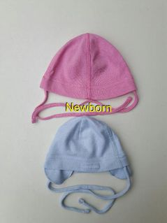 Mütze hellblau Nicki, dunkles rosa Strick, 2x Newborn - Immenhausen