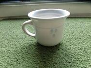 Keramik Becher Tasse Kaffeebecher Töpferware Handarbeit weiß-blau 2,50 - Flensburg