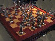 Schach Schachspiel Zinn Figuren Römer gegen Römer si go u.Kassette - Spraitbach