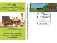 """Blitz-Kurier: MiNr. 1, 01.03.2004, """"Landesgartenschau Rathenow 2006"""", Wert zu 0,40 EUR, Ganzstück (Postkarte), Sonderstempel """"100 Jahre Brandenburgische Städtebahn"""" - Brandenburg (Havel)"""