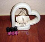 Duft -Aromalampe Keramik Herzform mit 3 Duftölen