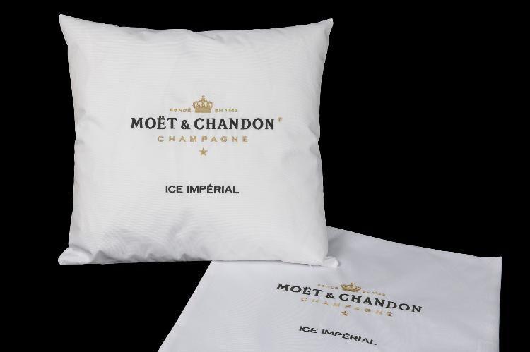 Kissenhülle Kissenbezug Baumwolle Motivkissen Champagner Moet /& Chandon Logo