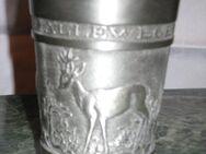 Zinn-Becher mit Rehmotiven, 2 Stück, sehr guter Zustand, Sammler - Sehnde