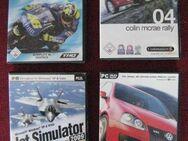 4 Stk. tolle PC-Spiele für Rennfahrer und Flieger, OVP & Bedienungsanleitung: MotoGP3, Colin McRae 04, VW Golf GTI Racing & Jet Simulator, Top-Zustand, Versand möglich, Paketpreis 10 € - Unterleinleiter