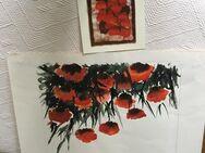 KLATSCHMOHN Aquarell 36x30 Beigabe Orig. Batik Weihnachtsstern - Bonn