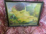 Antiker Holz-Bilderrahmen mit Aktbild ca.1910 / Jugendstil Holzrahmen, Frauenakt