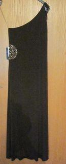 Gr. 12 (USA): Abend-Kleid mit Strasssteinen, braun, JS Boutique, neu