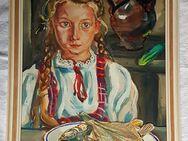 Gemälde Mädchen mag keinen Fisch Tempera Vegan Vegetarier Contemporary Art - Nürnberg