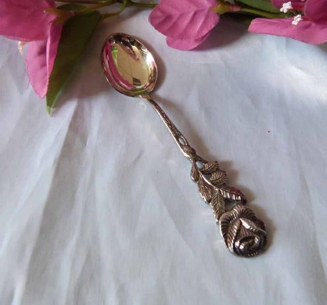 Antiko Hildesheimer Rose 6 Mokkalöffel 10,5 cm 100er Silberauflage