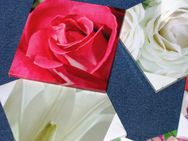 8 Stoffbilder auf Holzrahmen Blumen schöne Motive, neu - Celle