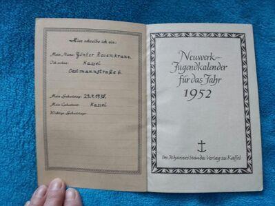 1952 Neuwerk Jugendkalender - Kassel Brasselsberg