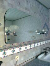 Bad-/WC-Spiegel mit Facettenschliff u. Beleuchtung