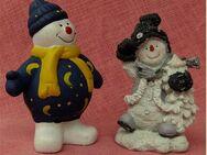 2 x Schneemann aus Keramik - 13 und 15 cm Länge - Groß Gerau