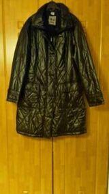 Damen-Winterjacke Gr. L lang schwarz glänzend