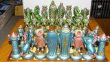 Schach Schachspiel Zinn Figuren Mittelalter Reinzinn Handbemalt