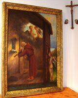 Antik Ölgemälde 1930 Georg Deinhart Kirche Kapelle Mönch Putto Engel Altar Geige