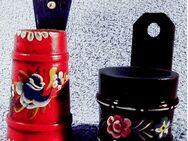 2 x Butterfass-Miniaturen aus Holz / Bauernmalerei - Längen ca. 10 + 12 cm - Groß Gerau