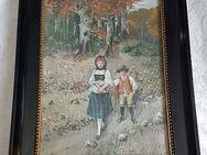 1914 Gemälde Spaziergang Bruder Schwester Kinder Trachten Schwarzwald - Nürnberg