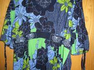 Bluse, Tunika mit Gummizug mittig (Gr. 52) Blau Grün Bunt Blumen - Weichs
