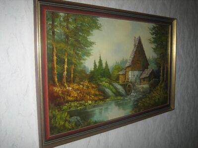 Wandbild Wassermühle handgemalt auf Leinwand - Bad Belzig Zentrum