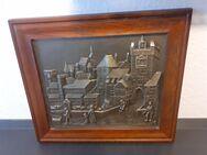 Zinnbild mit Holzrahmen Kunst Antiquitäten Stadtmotiv Relief Gemälde Handarbeit - Essen