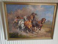 """Ölgemälde """"Pferde mit Wagen"""" (Original mit Signatur) - Groß Gerau"""