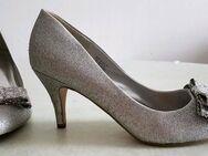 Pumps High Heels Damenschuhe Sky Heels Gr.41 Silber Glitzereffekt - Geislingen (Steige)
